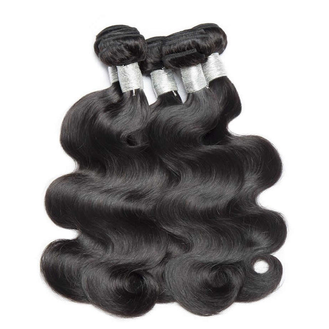 Vbena Indian Body Wave Weave 4Bundles With Lace Closure 4X4 Lace