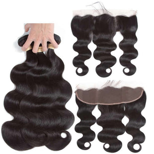 Vbena Brazilian Body Wave Virgin Hair Lace Frontal Closure With 4Bundles Natural Color