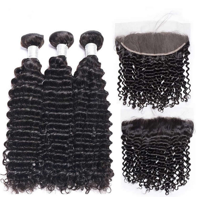 Vbena Malaysian Deep Wave Curly 3Bundles with 13*4 Ear to Ear Lace Frontal Closure