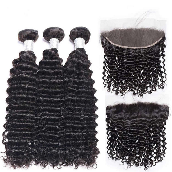 Vbena Malaysian Deep Wave Human Hair 4Bundles with 13x4 Lace Frontal Closure