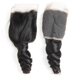 Vbena Brazilian Loose Wave Lace Closure with 4 Bundles Deals