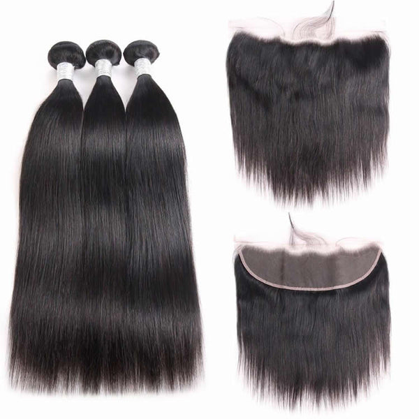 Vbena Indian Straight Hair 13x4 Lace Frontal Closure with 4Bundles