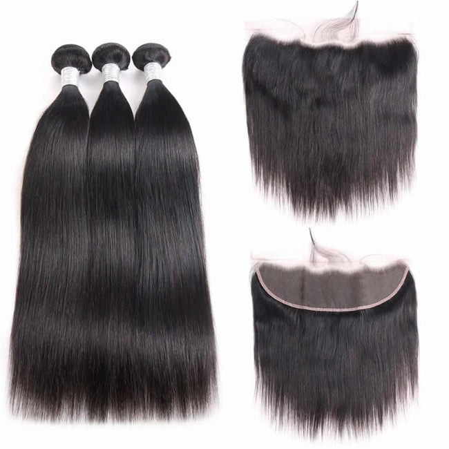 Vbena Indian Straight Hair Lace Frontal Closure 13x4 With 3Bundles Ear to Ear Lace