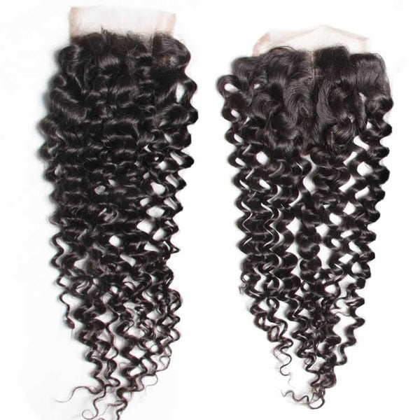 Vbena Brazilian Virgin Curly Hair 4x4 Lace Closure 1Bundles Wave