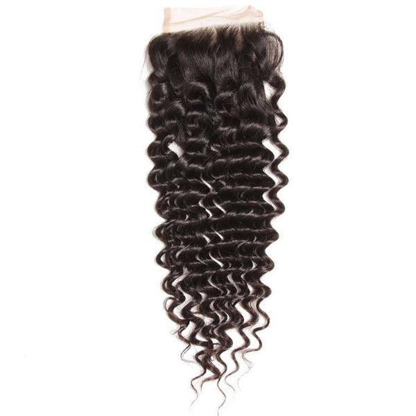 Vbena Deep Wave 1Bundles Lace Closure 4x4 Deals Human Hair