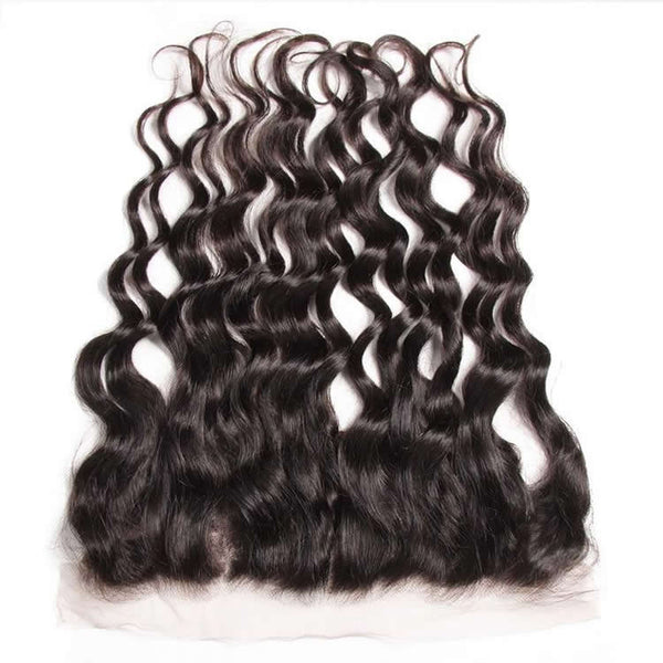 Vbena Indian Natural Wave Hair 13x4 Lace Frontal Closure With 3Bundles