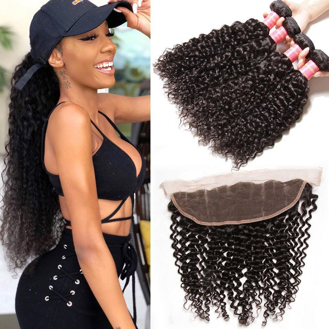 Vbena 4Bundles Indian Curly Hair Wave with Lace Frontal Closure