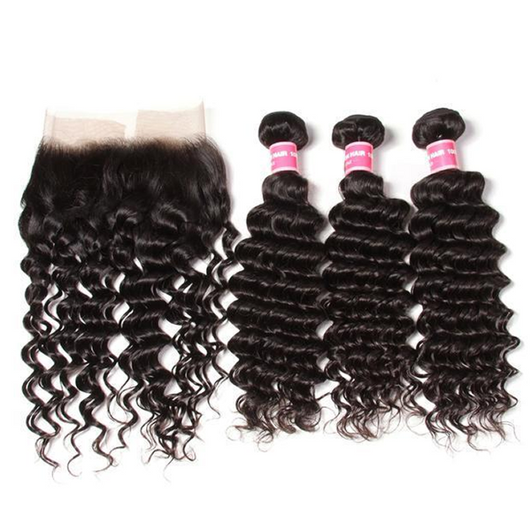 Vbena Brazilian Deep Wave 4 Bundles with Lace Frontal Closure 13x4 Closure