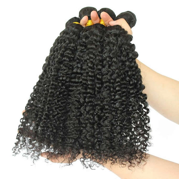 Vbena Indian Curly Virgin Human Hair Bundles 4pcs/lot Wave Weft
