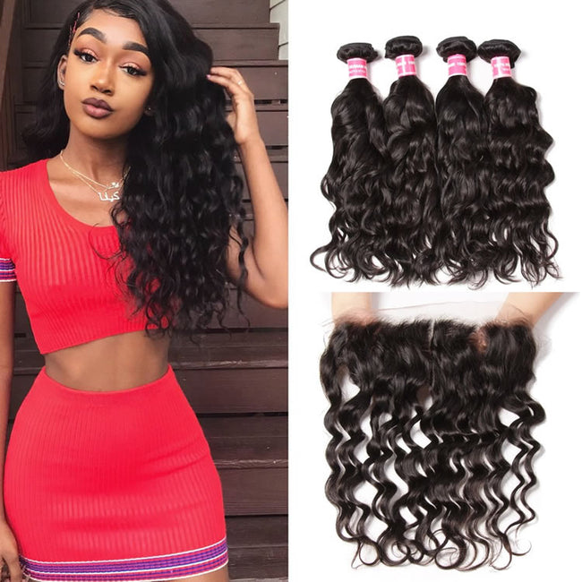 Vbena Brazilian Natural Wave 4 Bundles with Ear to Ear Lace Frontal Closure 13x4 Lace