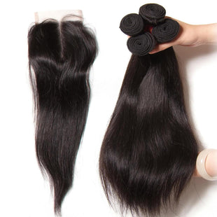 Vbena 4Bundles Brazilian Straight Hair with 4x4 Lace Closure