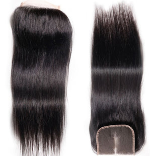 Vbena Peruvian Straight Virgin Hair 4x4 lace Closure 1Bundles Human hair Natural Color