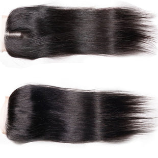 Vbena Virgin Malaysian Straight Hair 4x4 Lace Closure 1Bundles