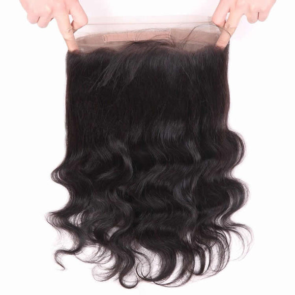 Vbena Virgin Brazilian Body Wave 2Bundles with 360 Lace Frontal Closure