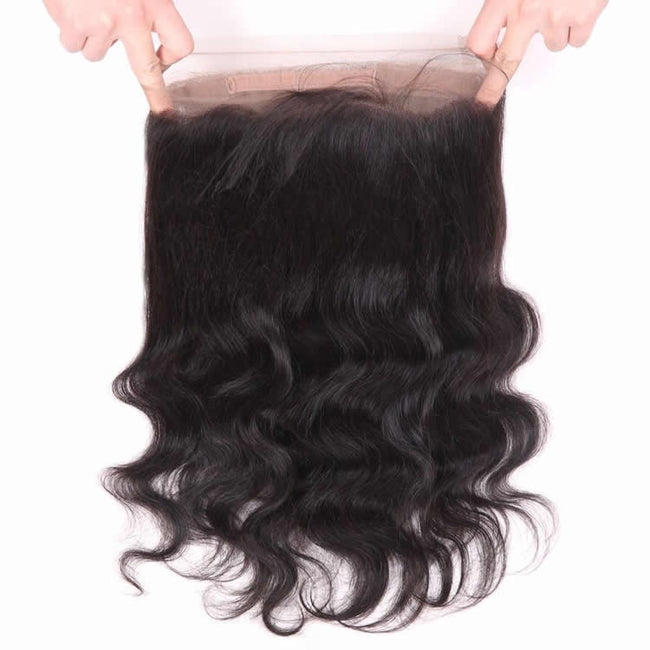 Vbena Virgin Indian Straight Hair 2Bundles with 360 Lace Frontal Closure