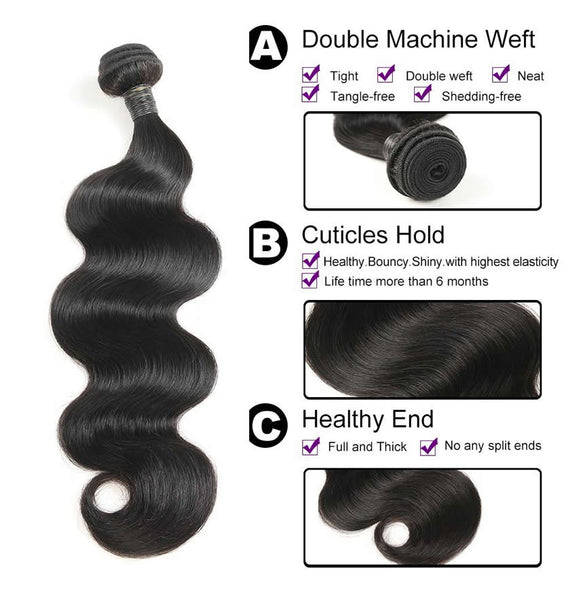 Vbena Peruvian Body Wave Lace Closure With 3Bundles Human Hair Weave