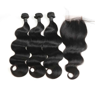 Vbena Brazilian Body Wave Virgin Human Hair 3Bundles With Lace Closure