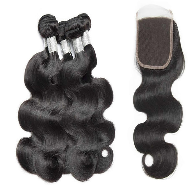 Vbena Brazilian Body Wave Lace Closure With 4Bundles Human Virgin Hair Bundles