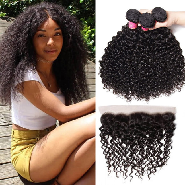 Vbena Brazilian Curly Hair 13x4 Lace Frontal Closure With Bundles 3Pcs/Pack