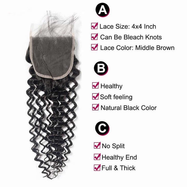 Vbena Peruvian Deep Wave 4Bundles with 4x4 Lace Closure Virgin Human Hair Bundles