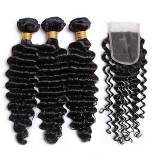 Vbena Brazilian Deep Wave Virgin Hair 4x4 Free Part Lace Closure with 3bundles Weave