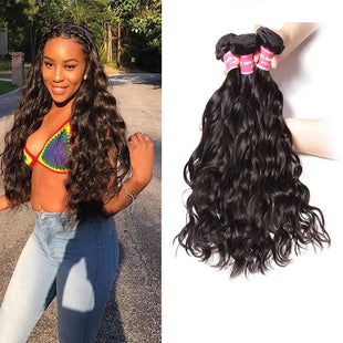 Vbena Indian Natural Wave 13x4 Lace Frontal Closure With 4 Bundles Ear to Ear Lace