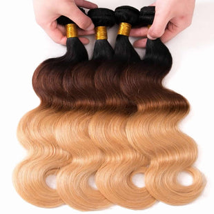 Vbena Ombre Body Wave Human Hair 3Bundles 3Tone 1b/4/27 Color