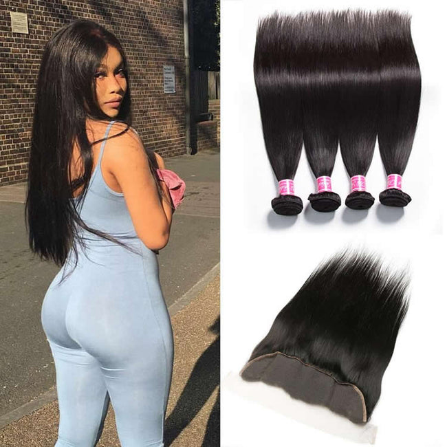 Vbena Peruvian Straight Hair 4Bundles with Lace Frontal Closure 13x4 Lace