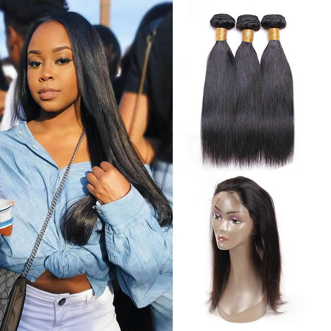 Vbena Brazilian Straight Hair 360 Lace Frontal Closure With 3Bundles