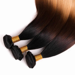 Vbena T1b/4/27 3Tone Ombre Straight Hair 3Bundles Human Hair Weave