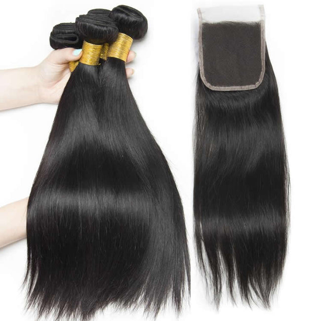 Vbena Indian Straight Hair With 4x4 Lace Closure with 3Bundles Deals