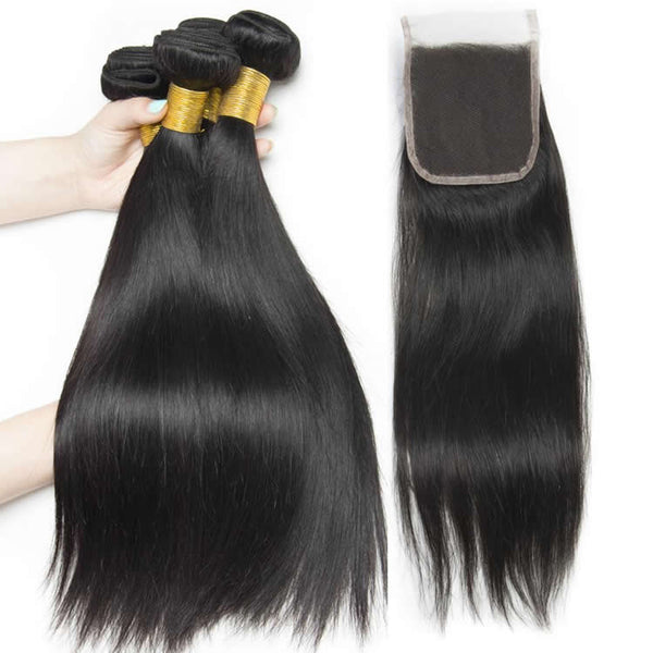 Vbena Peruvian Straight Lace Closure With 3Bundles Virgin Hair 4x4 Lace Closure