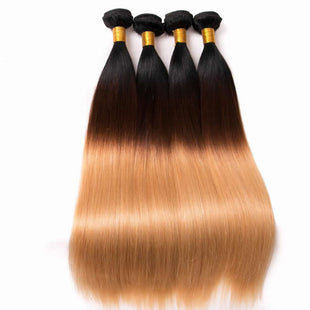 Vbena T1b/4/27 3Tone Ombre Straight Hair 4Bundles Virgin Hair Weave