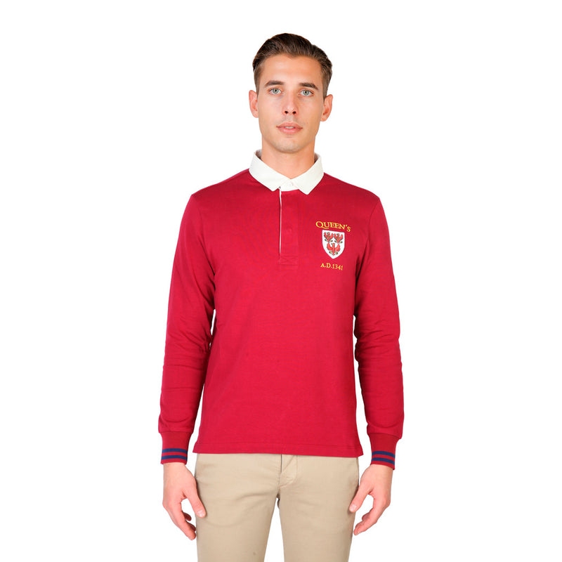 Oxford University Mens Polo Shirt - QUEENS-POLO-ML Clothing Polo QUEENS-POLO-ML-RED-Red-S 8050750174898