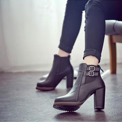 PMS ankle boots Black / 35 Vintage Thick With Belt Buckle Ankle Boots