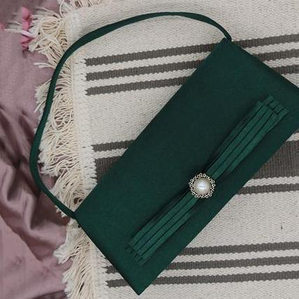 PMS army_green / one size Elegant Noble Plain Rectangle Chain One Shoulder Evening Hand Bag