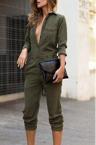 PMS army_green / s Army Green Fashion Lapel Jumpsuit