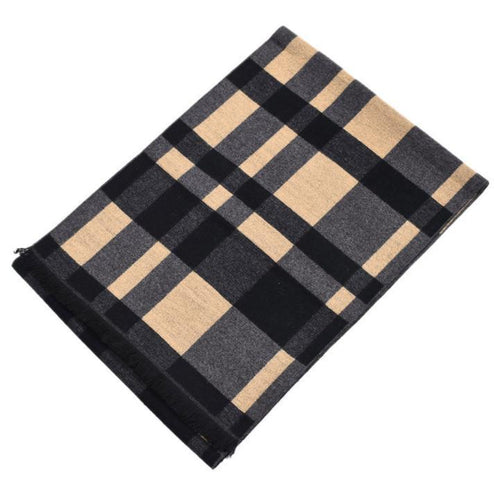 PMS Autumn and winter color woven plaid thickening men's scarf