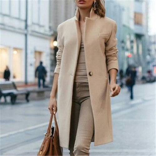 PMS Autumn And Winter   Fashion Pure Color Coat
