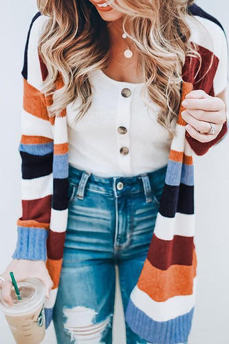 PMS Autumn And Winter   Fashion Striped Knitted Cardigan