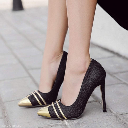 PMS black / 35 Fashion Pointed Sequined High Heels