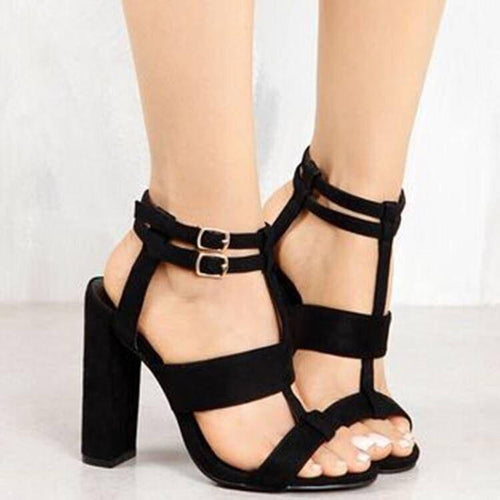 PMS black / 35 Fashion Pure Color Thick Heel Fish Mouth Sandals