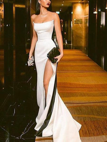 PMS Black And White Stitching Tube Top Evening Dress