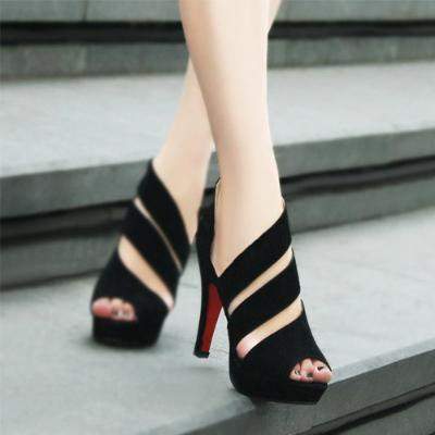 PMS black / EU38 Black Pure Color Hollow High Heels Shoes