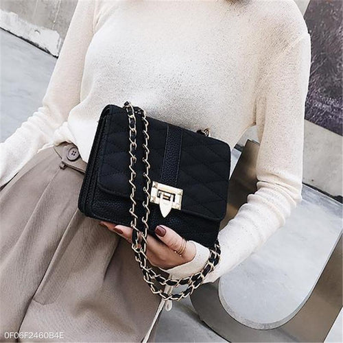 PMS black / one size Fashion Elegant Casual Plain Square Buckle Chain One Shoulder Hand Bag