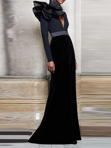 PMS black / s Deep V High-Waisted Long Dress For Autumn And Winter