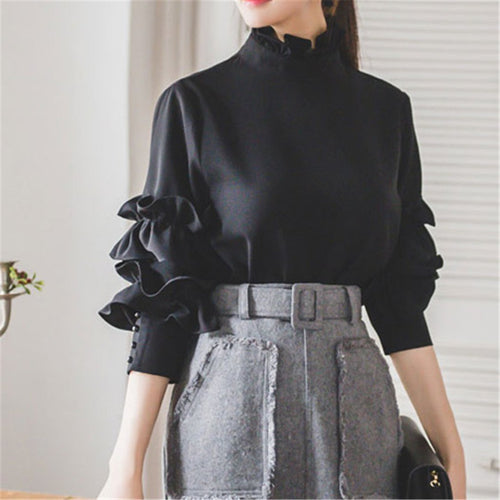 PMS Black / s Fashion Long-Sleeved Open-Back Shirt