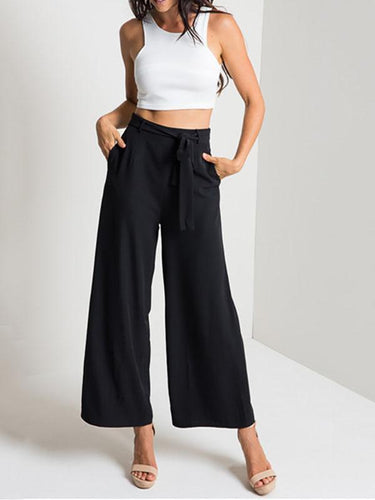 PMS black / s Middle-Waist Wide-Leg Sexy Pants