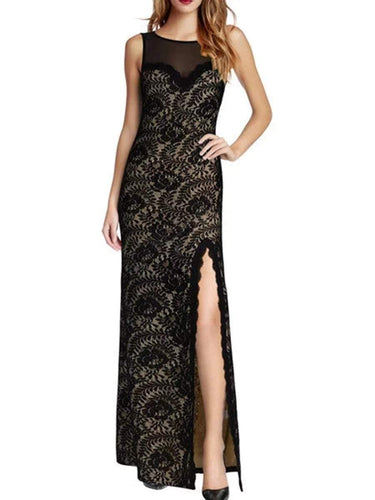 PMS black / s Round Neck  Decorative Lace Patchwork Side Slit  Plain Maxi Dress