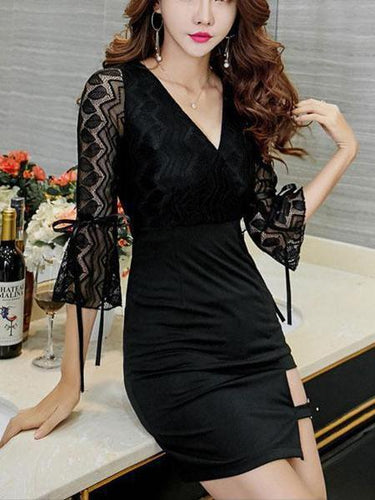 PMS black / s Sexy Deep V Collar Split Joint Lace Bodycon Dress